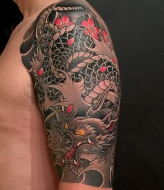 upper half sleeve tattoos - Tattoo Thinks Japanese Dragon Tattoos, Japanese Tattoo Art, Japanese Tattoo Designs, Japanese Sleeve Tattoos, Arm Cover Up Tattoos, Upper Half Sleeve Tattoos, Upper Arm Tattoos, Half Sleeve Tattoo Template, Full Sleeve Tattoo Design