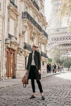 Eiffel Tower Paris France Blonde Woman Wearing Green Wool Coat Black White Stripe Turtleneck Black Skinny Jeans Givency Antigona Cognac Satchel Gucci Mules Fashion Jackson Dallas Blogger Fashion Blogger Street Style