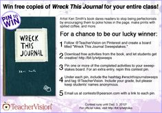 "Enter TeacherVision's Pinterest Sweepstakes for your chance to win copies of ""Wreck This Journal"" for your entire class! http://www.teachervision.fen.com/literature-guide/printable/72699.html The Sweepstakes runs October 19, 2012 - December 3, 2012 and is open to legal residents of the U.S. and Puerto Rico. Terms and Conditions: http://www.teachervision.fen.com/SweepstakesRules.html. #wreckthisjournalsweeps"