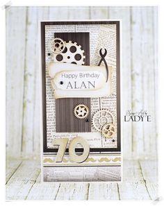 Male Card for Birthday / Męska Kartka na Urodziny (Scrap Art by Lady E) - Löffelbiskuit Rezept Happy Birthday Alan, 70th Birthday Card, Birthday Cards For Men, Special Birthday, Man Birthday, Steampunk Cards, Simple Card Designs, Card Making Templates, Hobby Room