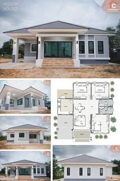 Gray Bungalow with Three Bedrooms Sims House Plans, House Layout Plans, Family House Plans, New House Plans, Dream House Plans, Small House Plans, Plans For Houses, Three Bedroom House Plan, Bungalow Floor Plans