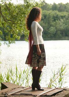 Jerseyrock Sommerrock braun mit Jerseybund S-L von Basia Kollek auf  DaWanda.com 861eeec8cb