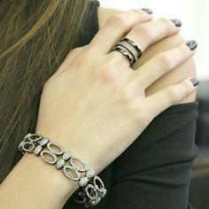 Bracciale con diamanti in oro ed argento