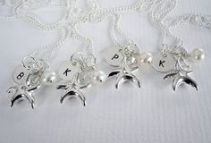 Starfish - Bridesmaid Necklace - Gift Set 4 Necklaces - Sterling Silver - Personalized - Initial - Freshwater Pearl - Birthstone. $128.00, via Etsy.
