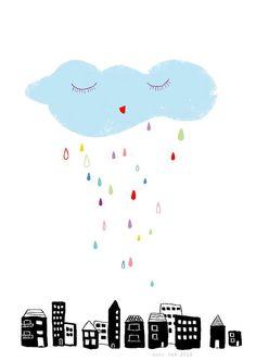 Happy Rain - original limited edition print