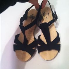 Black suede platform sandals Brand new never been worn out however one shoe had a defective inside therefore I got them cheaper. Brand is kimchi blue. Urban Outfitters Shoes Sandals
