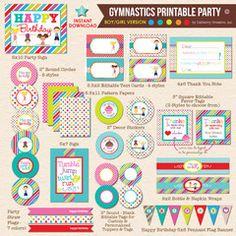 Boy / Girl Combo Gymnastics Birthday - DIY Printable Party Pack