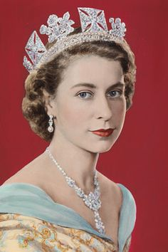 'Queen Elizabeth II' (1952) by Dorothy Wilding and hand-colored by Beatrice Johnson, on show at the National Portrait Gallery
