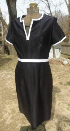 PEGGY JENNINGS 10 MEDIUM BLACK RIBBED W/ WHITE TRIM RETRO STYLE SILK DRESS