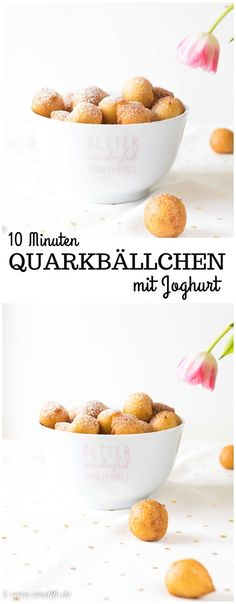 10 minutes of curd cheese balls with yoghurt – quick and tasty 10 Minuten Quarkbällchen mit Joghurt – schnell und lecker Quick quark balls with yoghurt – done in 10 minutes quark soup company # - Party Finger Foods, Snacks Für Party, Appetizers For Party, Healthy Dessert Recipes, Brunch Recipes, Appetizer Recipes, Cupcakes Amor, Yummy Cupcakes, Yogurt