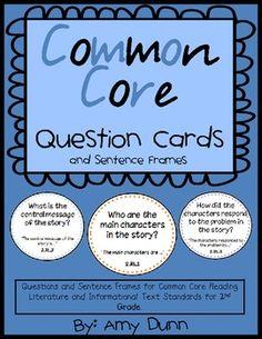 COMMON CORE READING QUESTION CARDS WITH SENTENCE FRAMES - TeachersPayTeachers.com