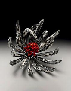Michael Sherrill - Fire Within, 2008, Night Flowers series, silica bronze Moretti glass, mokume porcelain.