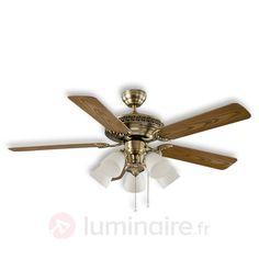 Centurion - Ventilateur de plafond, laiton antique, référence 2015057 - Ventilateurs de plafond ou à poser chez Luminaire.fr !