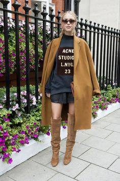 We love everything about this look, but mainly those amazing suede boots. #LFW #streetstyle