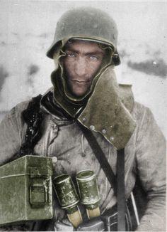 A German soldier in winter gear.