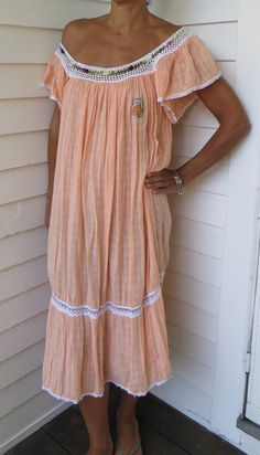 Vintage Peach Muslin Gauze Cotton Folkloric Crochet Island Tent Dress