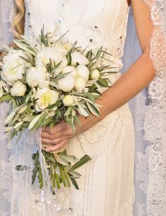 White Peonies bouquet, Olive leaves, Wedding in Greece, Lace, Romantic, Lace, Elegance, Jenny Packham dress