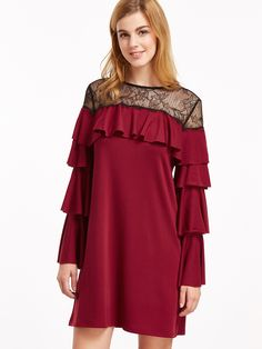 19$  Watch now - http://disv2.justgood.pw/go.php?t=15374 - Burgundy Contrast Sheer Neck Layered Sleeve Ruffle Dress