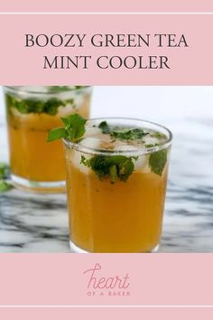 Looking for a boozy mint cooler? Click through to find out how to make this Boozy Green Tea Mint Cooler | Heart of a Baker #mintcooler #mintcoolerrecipe Easy Alcoholic Drinks, Drinks Alcohol Recipes, Green Tea Bags, Healty Dinner, Ginger Beer, Craft Cocktails, Food For A Crowd, Drinking Tea, Vegan Recipes