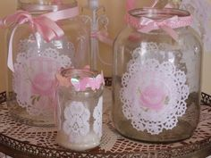 Staggering Useful Tips: Shabby Chic Vanity Beautiful shabby chic white decor. Paper Doily Crafts, Doilies Crafts, Diy Bottle, Bottle Crafts, Mason Jar Crafts, Mason Jars, Garrafa Diy, Altered Bottles, Shabby Chic Kitchen