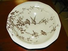 Large Antique Brown Transferware Bowl with Birds - PB &S Feather Mark Song Birds