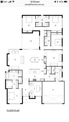 4 Bedroom House Plans, Dream House Plans, House Floor Plans, House Plans Australia, Architectural Floor Plans, Home Design Floor Plans, House Map, House Blueprints, Australian Homes