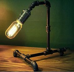 Industrial Steampunk Piping Lamp with Edison Filament bulb.