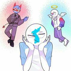 Korea with North and South Korea aha Hetalia, South Korea North Korea, Theme Background, Mundo Comic, Country Men, History Memes, Human Art, Kawaii Anime, Cartoon