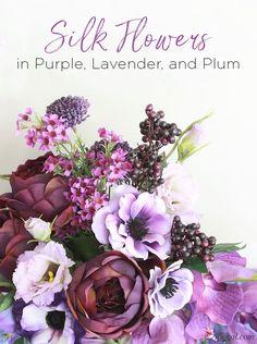 Purple, Lavender, and Plum Silk Flowers