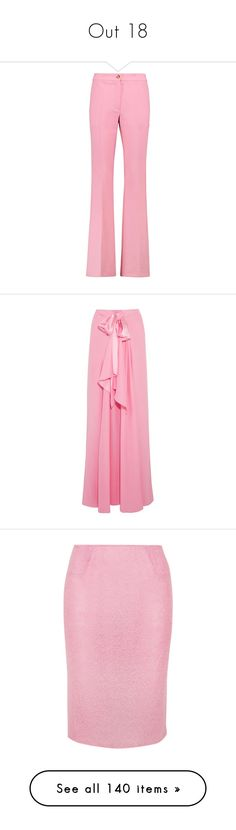 """""""Out 18"""" by alyssa23 on Polyvore featuring pants, vivetta, crepe pants, pink trousers, pink pants, crepe trousers, skirts, long skirts, ankle length skirt and pink maxi skirt"""