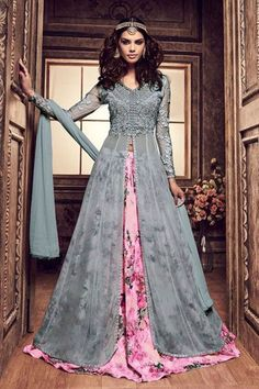 Grey and Pink Designer Flower Printed Beautiful Heavy Embroidered Lehenga With Front Slit On Georgette Fabric