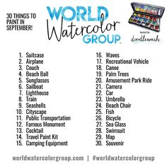 """Though our World Watercolor Group will always be a """"paint whatever you like""""…"""
