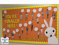 FUN, fun, fun back to school, bulletin board to use with the cutest book ever, You're Finally Here! by Melanie Watt, author of Scaredy Squirrel. Student pictures with explanations of why it took them so long to be in my class! We used the bulletin board as a first day photo op too!