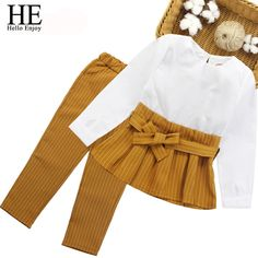 Childrens clothing store - HE Hello Enjoy Childrens Clothes Autumn Winter Girls Clothing Sets Fashion Long Sleeve Bow Tops+Stripe Pants Suits Kids Fashion Kids, Look Fashion, Fashion Outfits, Toddler Fashion, Dress Fashion, Fashion Clothes, Fashion Jewelry, Dresses Kids Girl, Kids Outfits