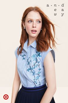 The classic button-down gets a refreshingly feminine update with floral embroidery and cap sleeves.