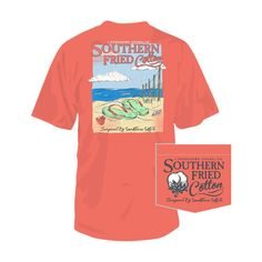 Southern Fried Cotton Flip Flops T-shirt BRIGHTSALMON