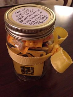 Teacher appreciation gift for a male teacher: jar of sunshine contains Buffalo Wild Wings gift cards, M&Ms, gum, and lemonade drops