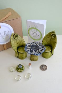 Fairy Garden Kit, Fairy Garden Party, Fairy furniture, Leaf chair and Flower table set: 7 items cast marble stone for Miniature garden