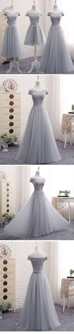 Unique Prom Dress,Cute a line gray lace off shoulder prom dress, lace evening dresses