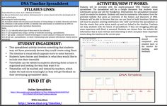 This online google document is a spreadsheet that has a template for a timeline on it. Students must use the provided webpage to selet dates and events and summarise the discovery and history of DNA into their spreadsheet. This activity aims to develop students skills with Excel and spreadsheets. Find the spreadsheet at: https://docs.google.com/spreadsheet/ccc?key=0AlghnkeQmGtCdGJtUVJzZDVvT0Nsb2F1RVdvOGp0Ync#gid=0