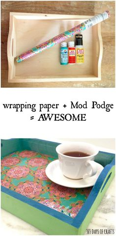Bold and colorful DIY mod podge serving tray tutorial using gift wrap.  Perfect mother's day or teacher giftmod podge serving tray