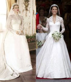 Grace Kelly and Kate Middleton Long Lace Sleeve Wedding Dresses