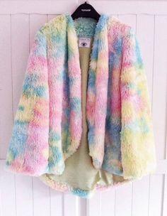 Tie-Dye Faux Fur Coat
