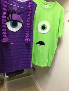 Celia and mike diy shirts jane's monsters inc party Monsters Inc Costume Diy, Monsters Inc Halloween, Monster Inc Costumes, Monster Party, Monster Birthday Parties, Bff Halloween Costumes, Disney Costumes, Halloween Fun, Disney Dress Up
