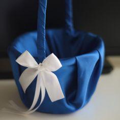 Blue Flower Girl Basket \ Royal Wedding basket \ Cobalt Blue Wedding basket \ white Blue Wedding Basket Pillow Set \ Royal Blue Basket