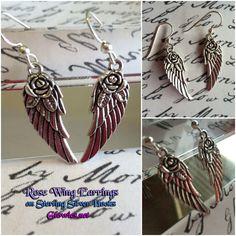 Rose Wing Charm Earrings