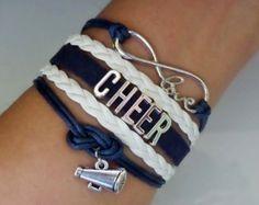 Jubeln Sie Brcacelet in navy und weiß, unendliche Liebe Armband, Cheer Armband, Cheerleader Armband Antik Silber Charms