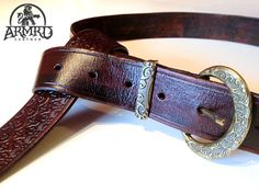Medieval Leather Belt With Ornate Buckle Set by armrd on Etsy, $60.00