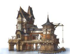 ArtStation - Private house in the lake village, Ju. - ArtStation - Private house in the lake village, Ju. Fantasy Village, Fantasy Town, Fantasy Castle, Fantasy House, Fantasy Map, Medieval Fantasy, Art Village, Arte Steampunk, Planet Coaster
