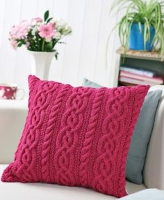 Cable Cushion pattern by Lucinda Ganderton - free from Let's Knit